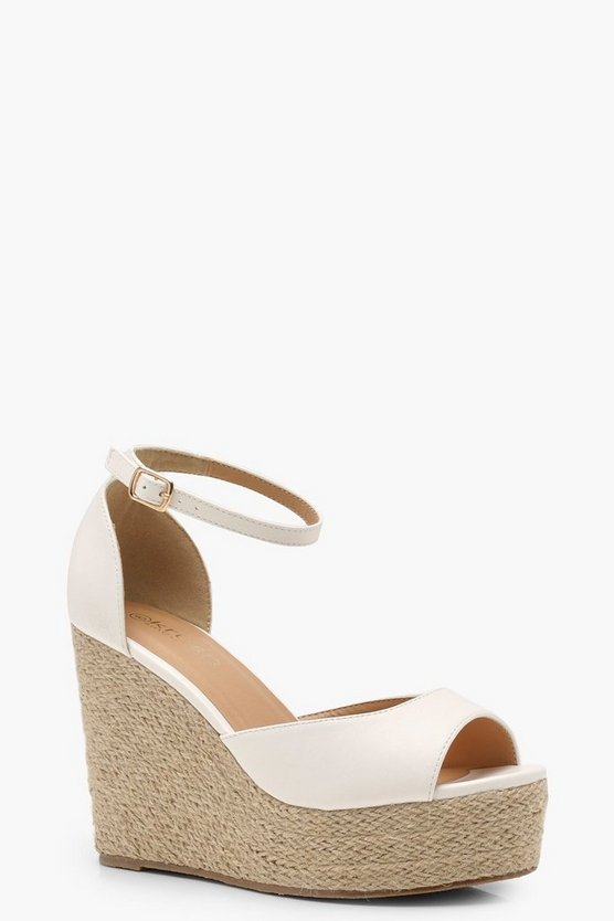 White Espadrille 2 Part Wedges