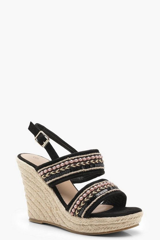 Womens Beaded Strap Espadrille Wedges