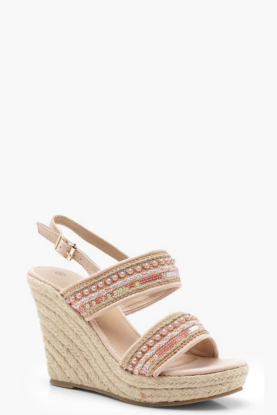 Beaded Strap Espadrille Wedges