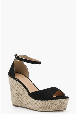 Womens Black Espadrille 2 Part Wedges