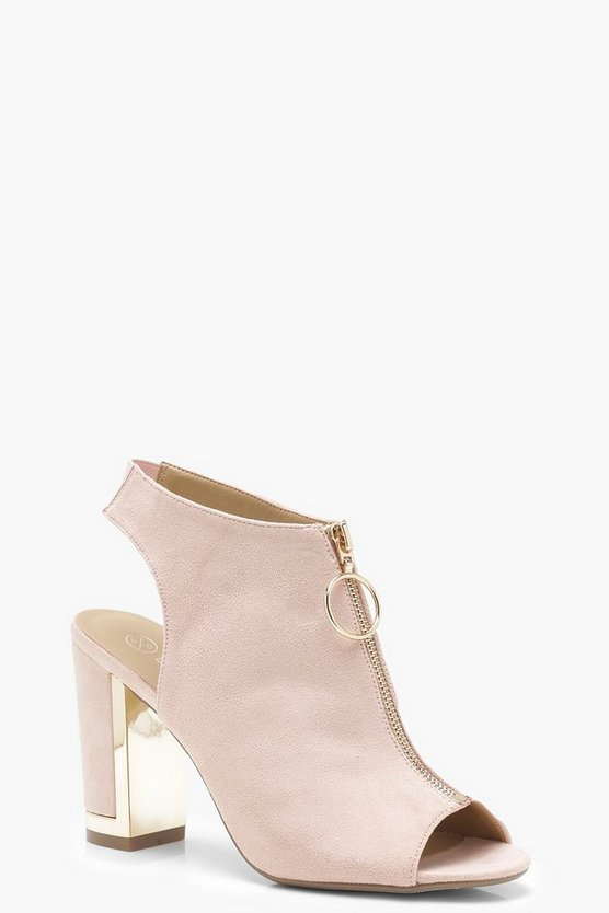 Wide Fit Zip Front Sling Back Shoe Boots