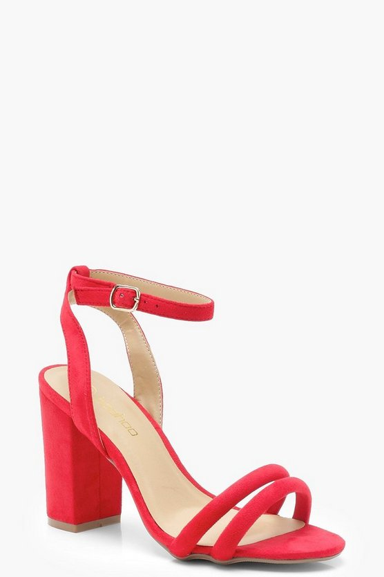 Womens Red Double Band Ankle Strap Heels