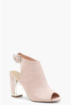 Womens Blush Wide Fit Metallic Heel Clip Shoe Boots