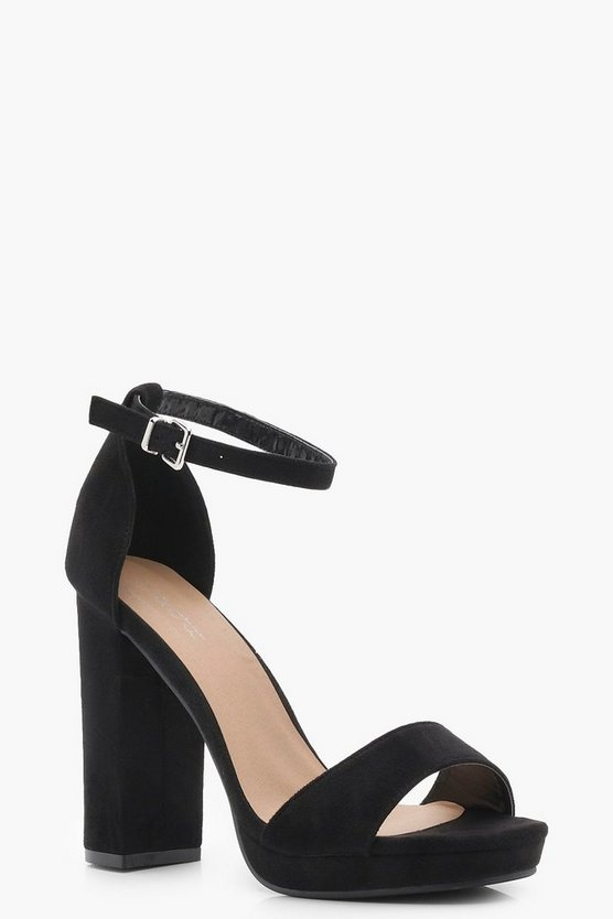Womens Wide Fit Suedette Platform 2 Part Heels