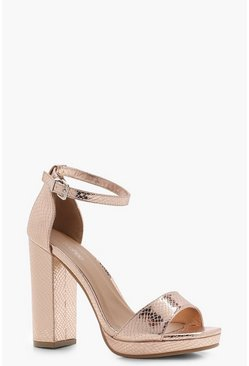 Womens Rose gold Wide Fit Snake Metallic Platform Heels