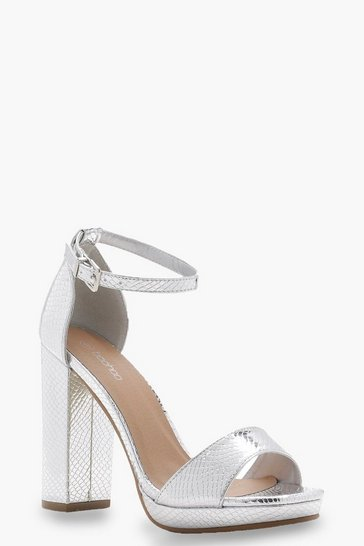 Womens Silver Wide Fit Snake Metallic Platform Heels