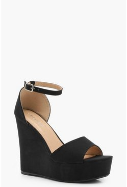 Womens Black High 2 Part Wedges