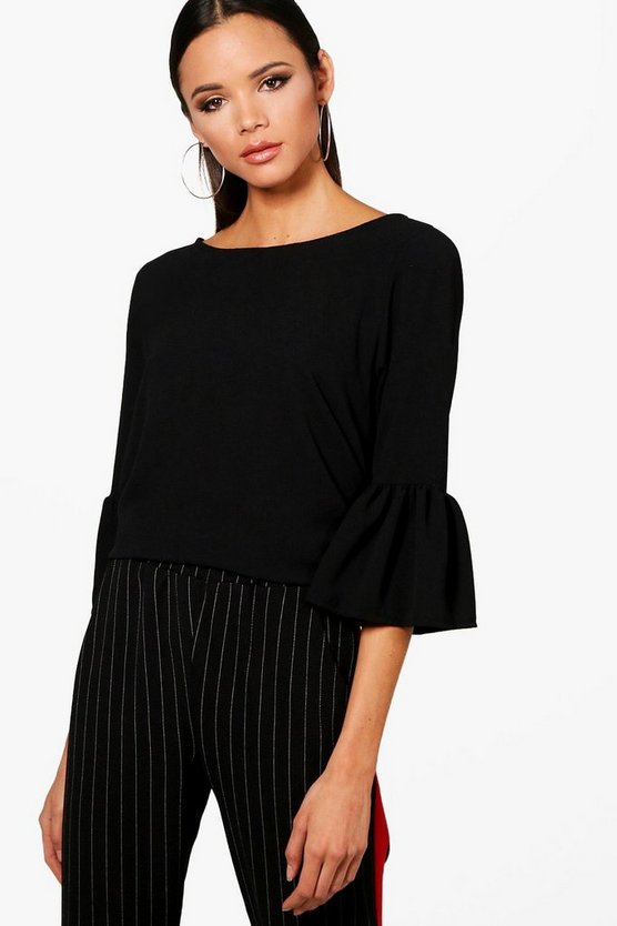 Womens Black Ruffle Sleeve Tunic Woven Top