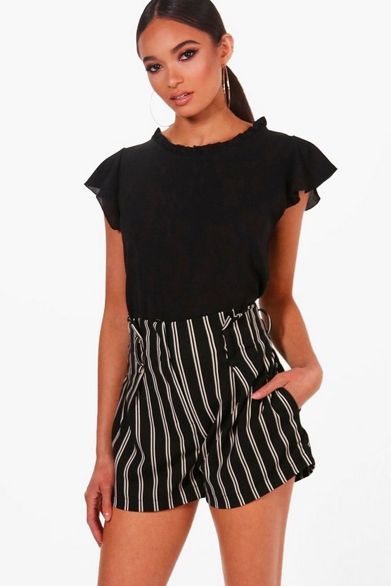 Ruffle Collar Woven Short Sleeved Top