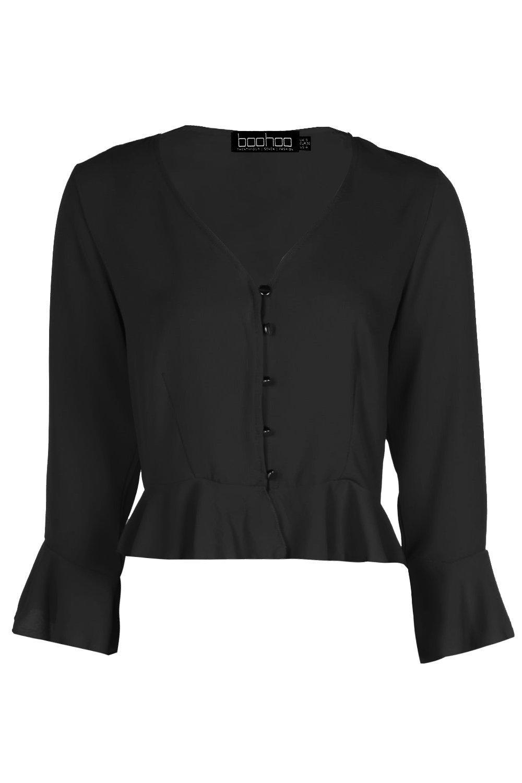 Blusa Blusa abotonada con con abotonada negro negro abotonada Blusa Blusa negro volante volante con volante wqwCBaF