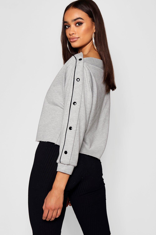 suéter diagonal Camiseta broches marl estilo con en grey vfSfqUw4