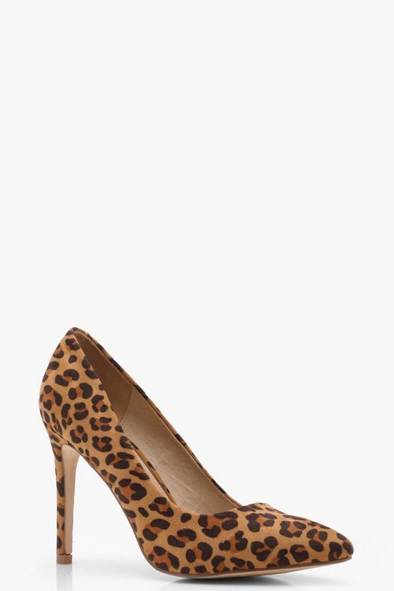 Brown Leopard Court Shoes