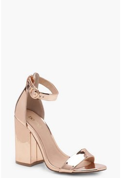 Womens Rose gold Chunky Block Heel 2 Part Heels