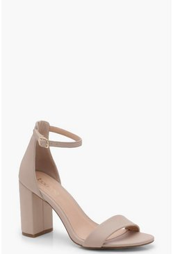 Womens Nude 2 Part Block Heels