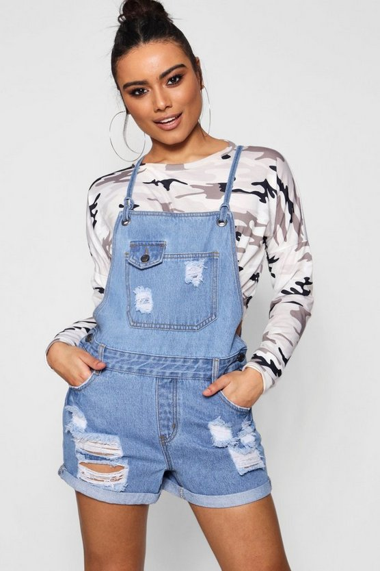 Eyelet Button Through Denim Dungaree Shorts