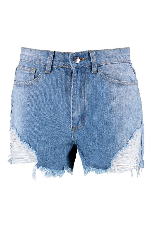 blue Denim Angled Mom Distressed mid Shorts RaXnqwPx