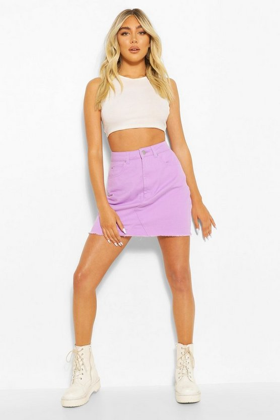 Womens Lilac Denim Mini Skirt