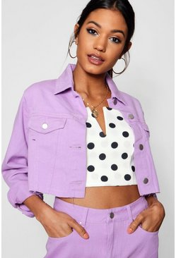 Womens Lilac Cropped Denim Trucker Jacket