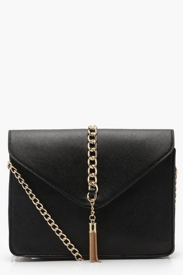 Womens Black Crosshatch Chain & Tassel Cross Body Bag