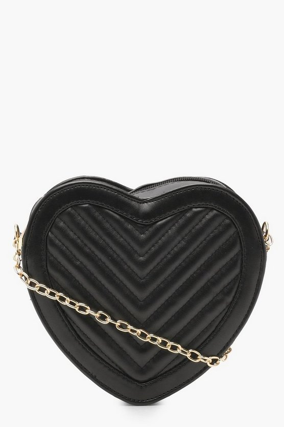 Womens Black Quilted Heart Cross Body Bag