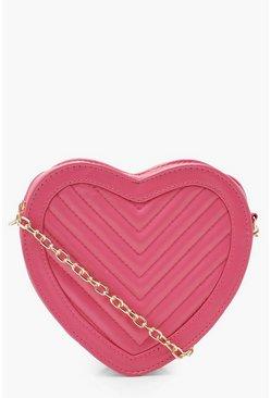 Pink Quilted Heart Cross Body Bag