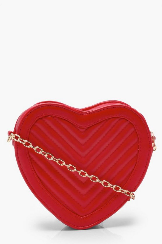 Womens Red Quilted Heart Cross Body Bag