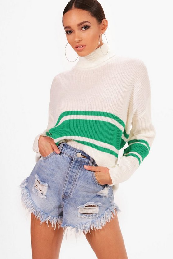 Sports Stripe Roll Neck Jumper