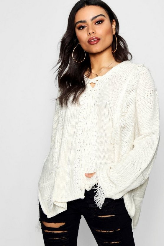 Fringe Lace Up Front Jumper