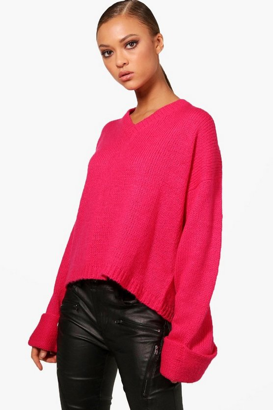 V Neck Oversized Box Jumper