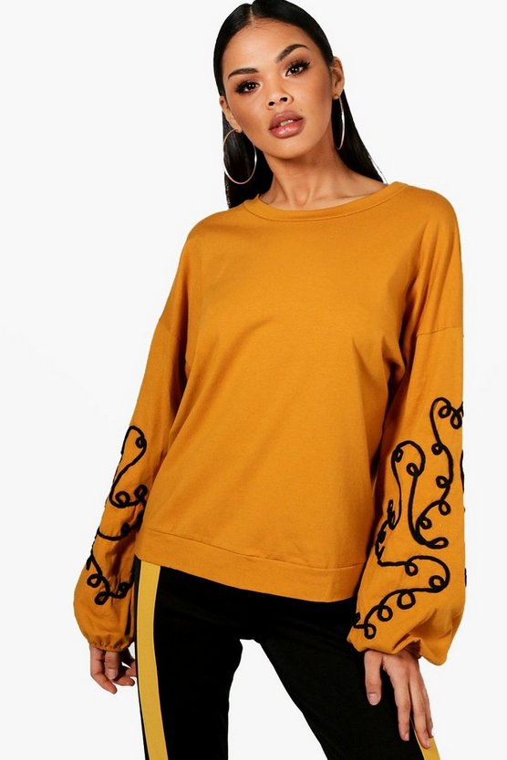 Embroidered Balloon Sleeve Sweatshirt