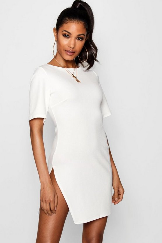 Short Sleeve Thigh Split Bodycon Dress