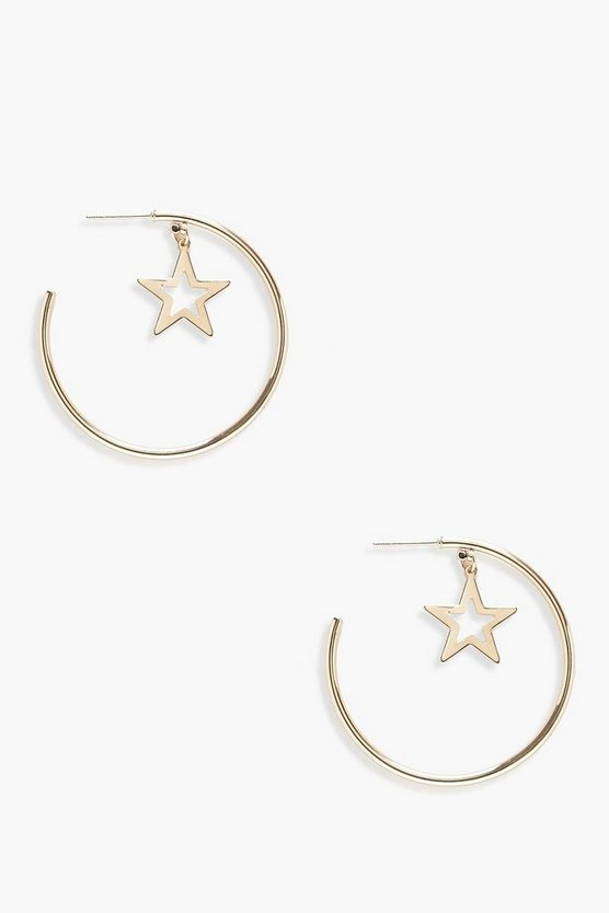 Holly Star Hoop Earrings