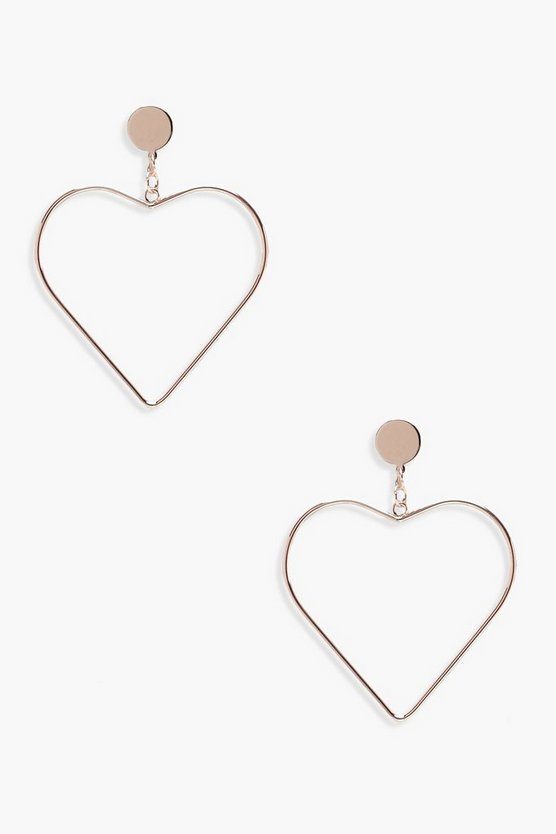 Womens Rose gold Heart Earrings