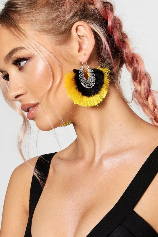 Ava Boho Hoop Tassel Statement Earrings