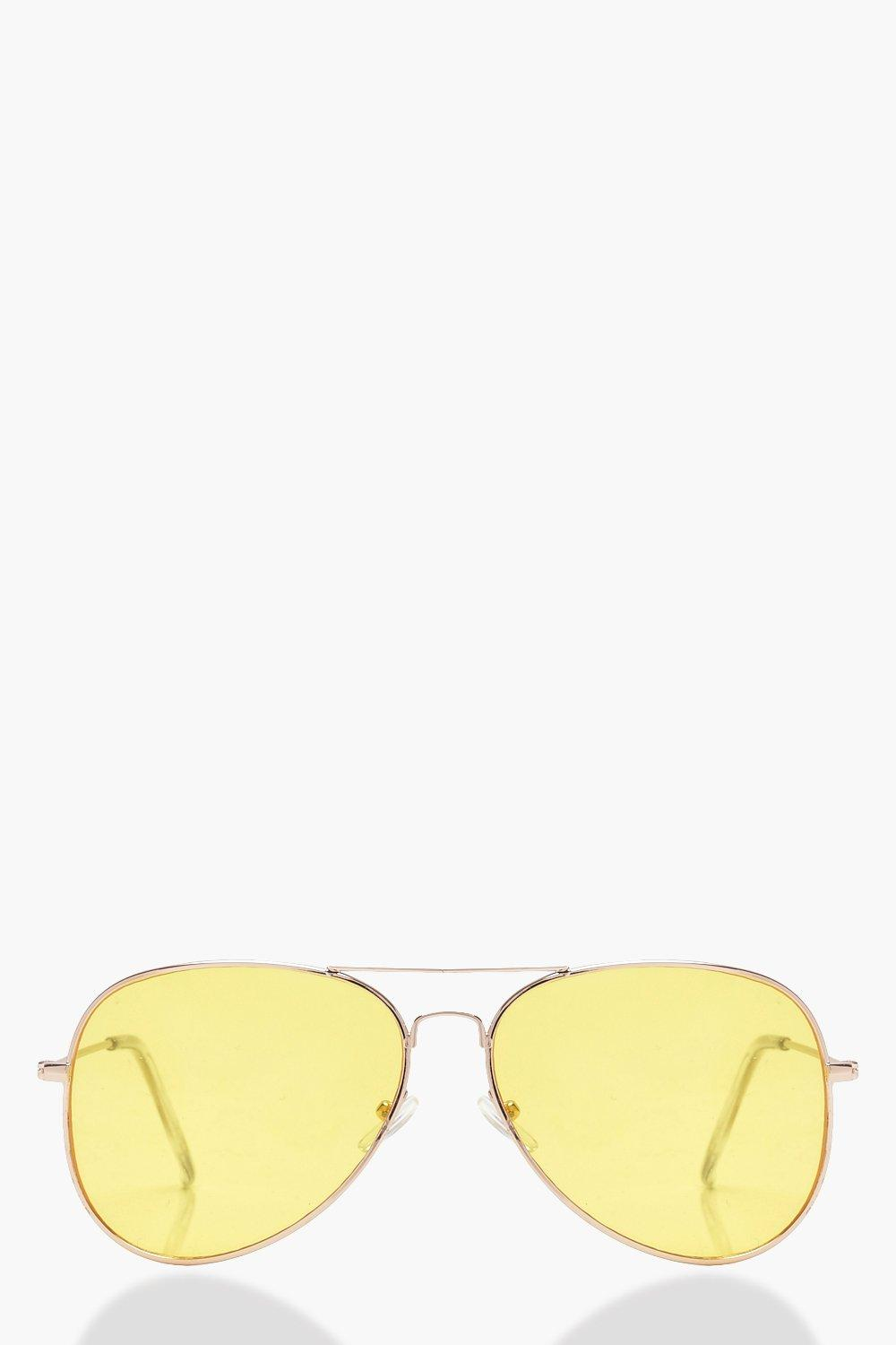 f56075518b Boohoo Womens Coloured lens Aviator Sunglasses in Yellow size One Size