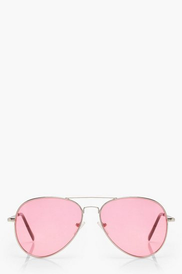 Pink Coloured Lens Aviator Sunglasses