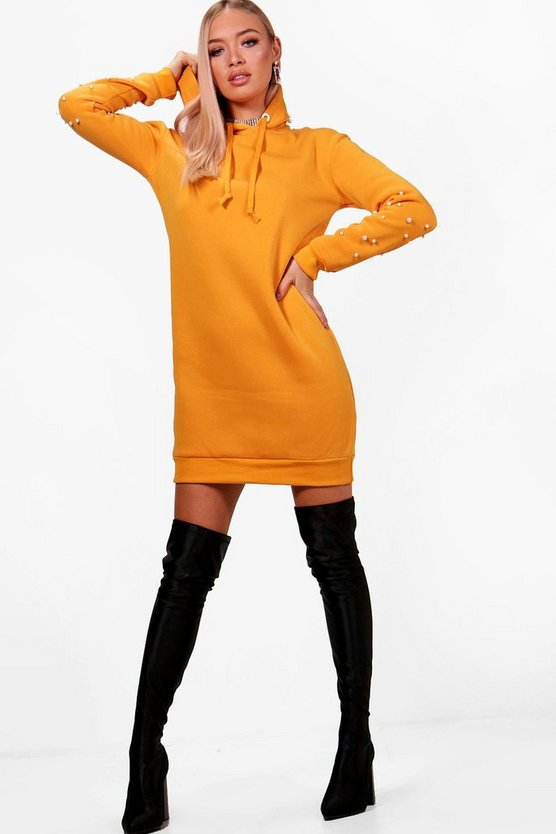 Hooded Sweat Dress With Faux Pearl Detail