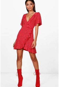 Womens Red Ditsy Heart Tea Dress