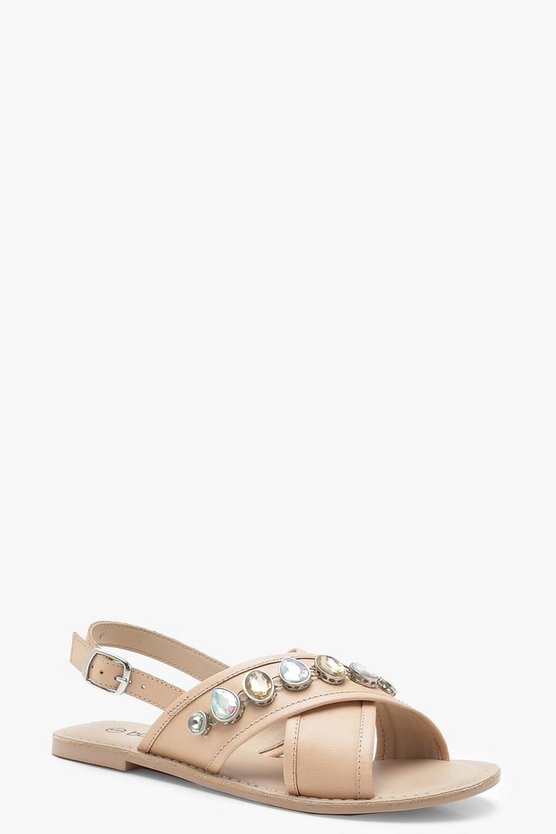 Nude Embellished Cross Strap Leather Sandals