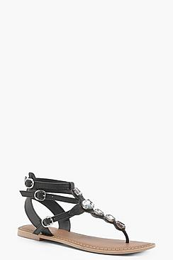 Jewelled Ankle Strap Leather Sandals