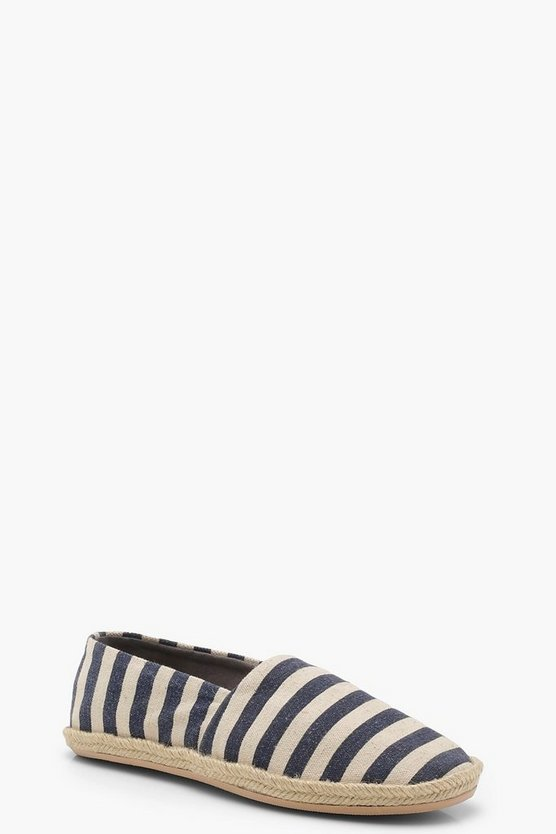 Womens Cream Canvas Striped Espadrilles