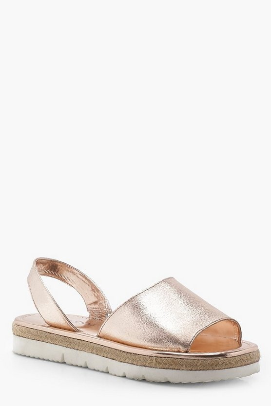 Peeptoe Two Part Cleated Leather Sandals