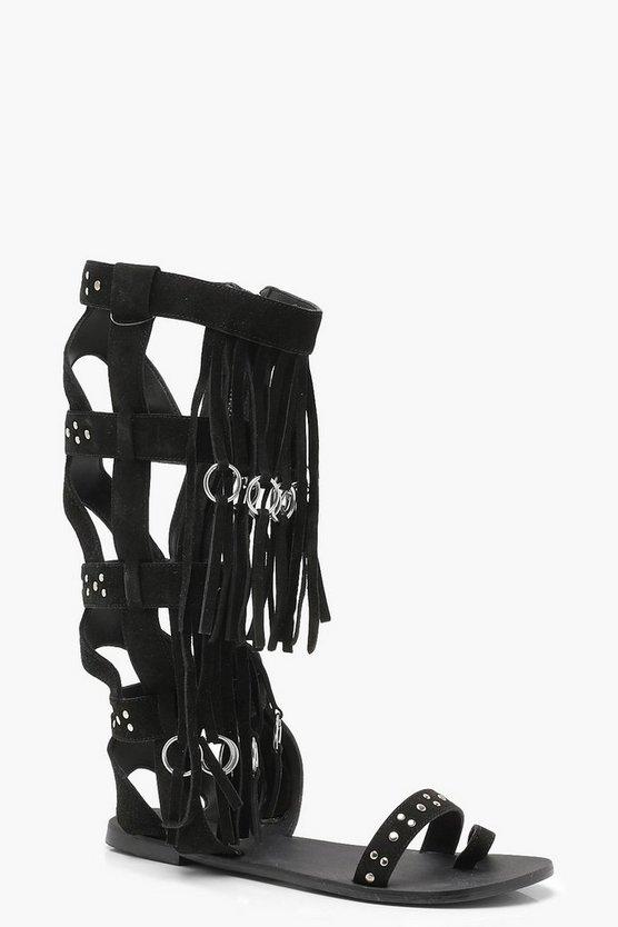 Studded Fringed Suede Gladiator Sandals