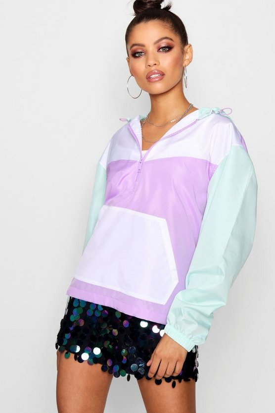 Oversized Colour Block Sports Jacket