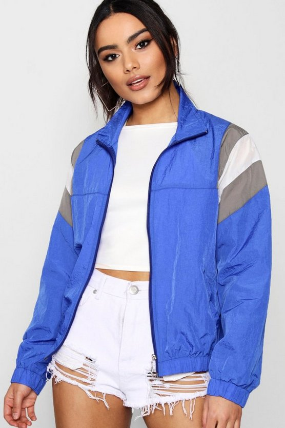 Panelled Windbreaker, Кобальтовый, Женские