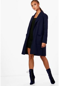 Womens Navy Shawl Collar Boyfriend Coat