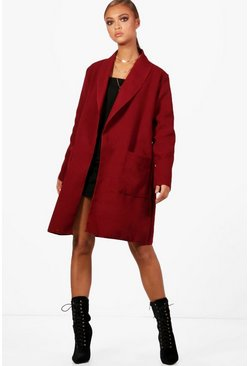 Womens Wine Shawl Collar Boyfriend Coat