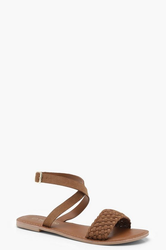 Lucy Plaited Cross Ankle Strap Suede Sandals