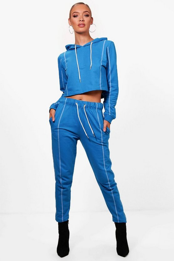 Athleisure Seam Detail Crop Hooded Tracksuit