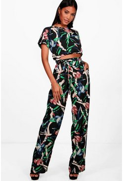 Black Mixed Print Crop & Pants Co-Ord Set